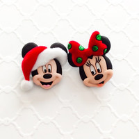Mickey and Minnie ~ Christmas Earrings ~ Disney Jewelry ~ Winter Earrings ~ Mickey Studs ~ Disney Vacation Ears ~ Mismatched Stud Earrings
