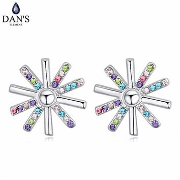 DAN'S 5 Colors Real Austrian crystals Stud earrings for women    Earrings s New Sale Hot  Round 120699
