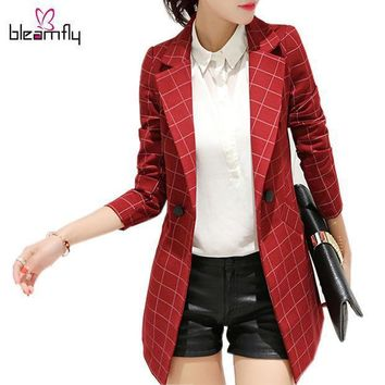Long Women's Blazers Plaid Suit Coat 2016 Spring And Autumn Fashion Female Blazer Work Wear Jacket