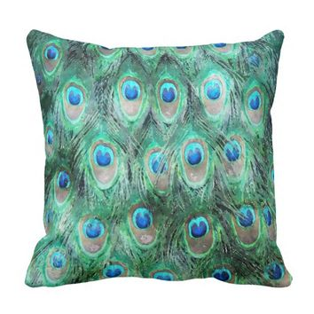 Peacock Feathers Exotic Wild Watercolor Pattern Throw Pillow