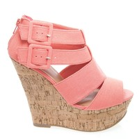 Result-S Strappy Cage Buckle Zip Back Ankle Strap Cork Platform Wedge Sandal