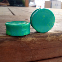 "Exotic Green Stone Plugs 9/16"" 7/8"" One Inch"
