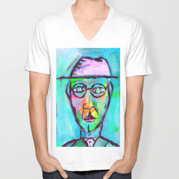 Man in color Unisex V-Neck by Yuval Ozery