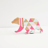 Geometric Neon Bear Brooch - Harlequin Wooden Bear Pin