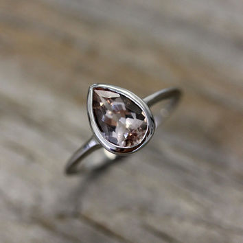 Pear Shaped Morganite Gemstone Paired with 14k Palladium White Gold Ring, Pear Gemstone Morganite Ring, Made To Order