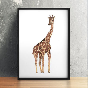 Cute giraffe print Nursery poster Watercolor animal art ACW203
