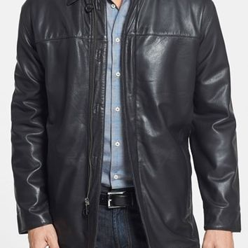 Men's Missani Le Collezioni Classic Fit Reversible Leather & Lambswool Car Coat,