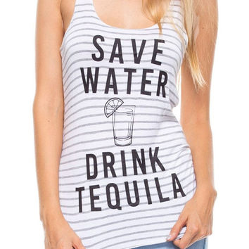 Save Water Drink Tequila Print Tank Top