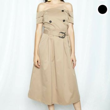 Belted Trench Coat Off Shoulder Midi Dress