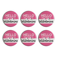 Wilhelmina Hello My Name Is Plastic Resin Button Set of 6