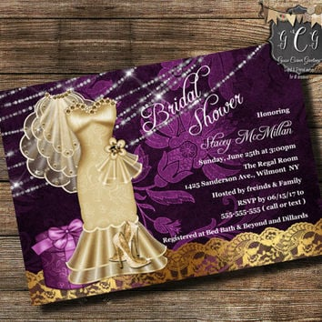 Purple Wedding Shower Invitation Bridal Shower Invitation Wedding Dress invitation Unique Shower Invitation Elegant printable invitation