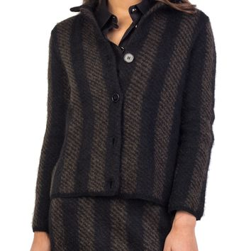 Prada Women's Mohair Wool Blend Tweed Coat Two Tone