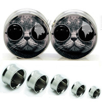 Glass cat  Double Flare steel  plugs,Screw on flesh tunnel,Body Piercing Gifts,0g plugs,00 plug,best gifts for bride