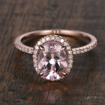 6x8mm Morganite Engagement ring Rose gold,Diamond wedding band,14k,Emerald Cut,Gemstone Promise Bridal Ring,Claw Prongs,Halo Half Eternity