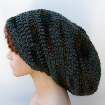 72e9de09f34 Pine Green Gray Slouchy long Dread Tam men women Hippie Beanie Hat alpaca  wool blend Dreadlocks