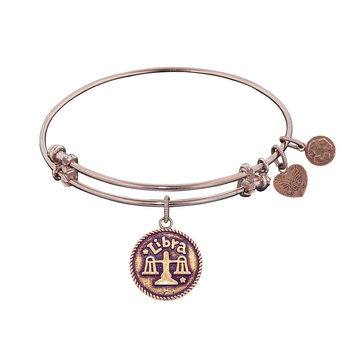 "Angelica Collection Antique Smooth Finish Brass ""libra""- September Expandable Bangle"