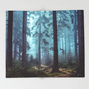 Fleece Throw Blanket, Trees Forest Wilderness Wanderlust, Nature Decor, Home Decor
