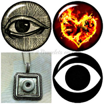 All seeing Eye Snaps, Burning Heart snap charm with a large rectangular pendant. Fits Noosa or Gingersnap style charms.