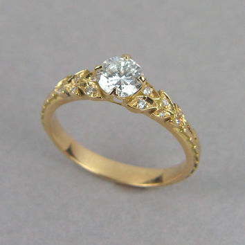 Leaf Engagement Ring, 18k Enagement Ring, Gold Leaf Ring, Vintage Leaf Ring, Deco Engagement Ring, diamond leaf ring, engagement leaf ring