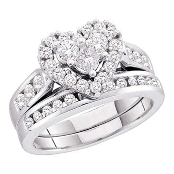 14kt White Gold Womens Princess Round Diamond Heart Bridal Wedding Engagement Ring Band Set 1.00 Cttw