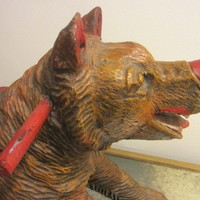 Black Forest Life Size Boar Hand Painted Carved Wild Animal Sculpture