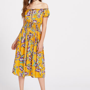 Yellow Off Shoulder Lace Up Shirred Waist Dress