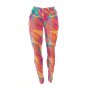 "Miranda Mol ""Triangle Opticals"" Pink Multicolor Yoga Leggings"