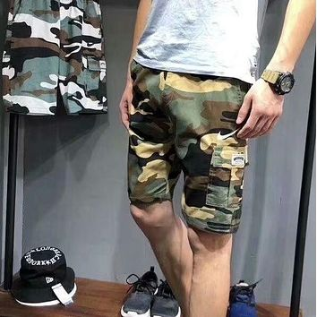 NIKE New Summer fashion small hook print leisure running sports camouflage men shorts Army green