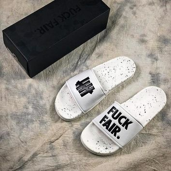 UNDEFEATED FUCK FAIR Slide White Slippers - Best Online Sale