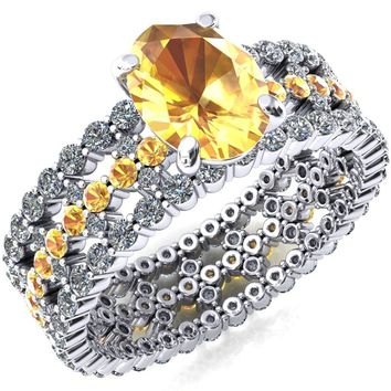 Lacy Yellow Sapphire Full Eternity Yellow Sapphire and Diamond Accent Ring