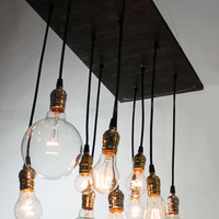 Small Urban Chandelier with varying vintage look bulbs
