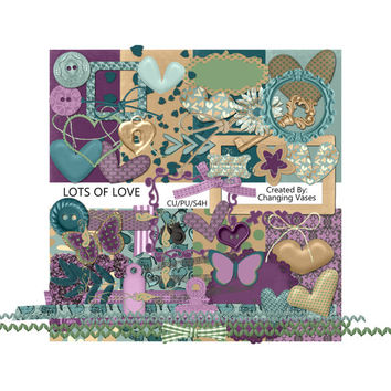 Lots of Love Digital Scrapbooking Kit Valentines Day Clip Art, Anniversary Love Clipart. Frames Ribbons Butterfly Hearts Antique Key Buttons