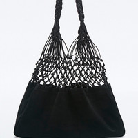 Ecote Suede Woven Bag in Black - Urban Outfitters