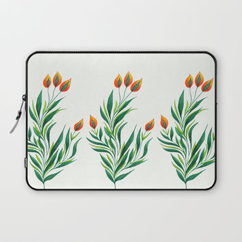 Abstract Green Plant With Orange Buds Laptop Sleeve by borianagiormova