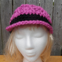Bi-color chunky crochet newsboy cap, swirly bi color hat, made to order