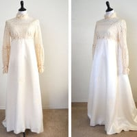 1960s Empire Waist Wedding Dress Regency Style Larger Size