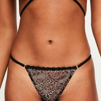 Missguided - Black Lurex Lace Thong