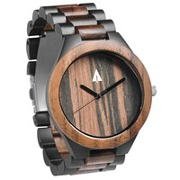 Stainless Steel Wood Watch // Black Chase