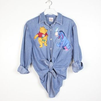 232d16fb1 Vintage 1990s Winnie The Pooh Chambray Shirt Button Down Disney