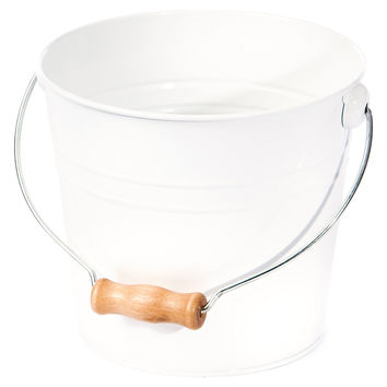 Drop Handle Bucket, White, Large, Storage Baskets