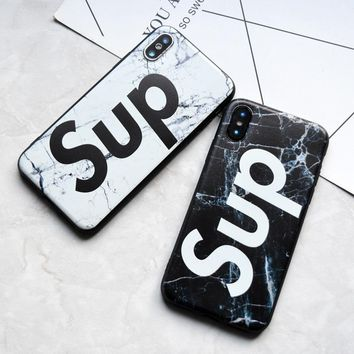 Hot Simple Sup Soft Silicon case for iphone 6 6s Plus 5s SE Phone Black White Marble cover for iphone X 7 8 Plus tpu Case