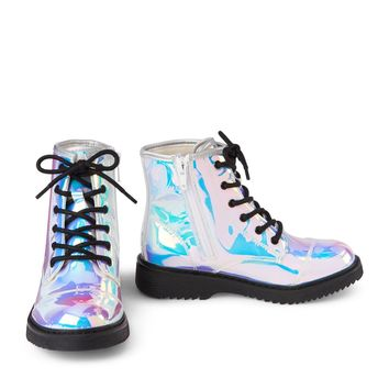 Girls Holographic Lace-Up Roxi Boot