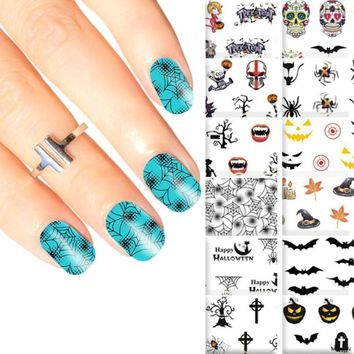 5 Sheets Halloween Design Beauty Nail Art Nails Stickers Adhesive Water Transfer Nails Decorations 3D Skull Pumpkin Sticker
