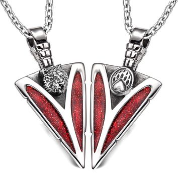 Arrowhead Grizzly Bear Head and Paw Love Couples BFF Set Protection Amulets Sparkling Red Necklaces