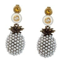 GUCCI Newest Fashion Retro Crystal Pineapple Pearl Earrings Accessories Jewelry