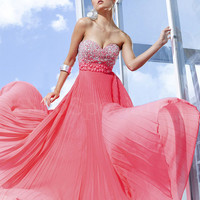 Luxury Column Sweetheart Empire Waist Beaded Pleated Chiffon Floor Length Homecoming Dress from SinoSpecial