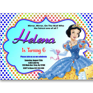 Snow White Polka Dot  Disney Princess Kids Birthday Invitation Party Design