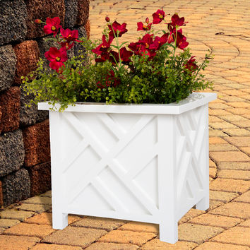 Pure Garden Box Planter - White   Overstock.com Shopping - The Best Deals on Planters, Hangers & Stands