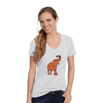 Hanes Ash Grey V Neck Shirt With An Asian Elephant With Orange Aztec Design