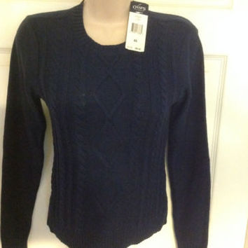 NWT-Chaps sz XS cotton blend Navy Blue Women's Sweater MSRP $50